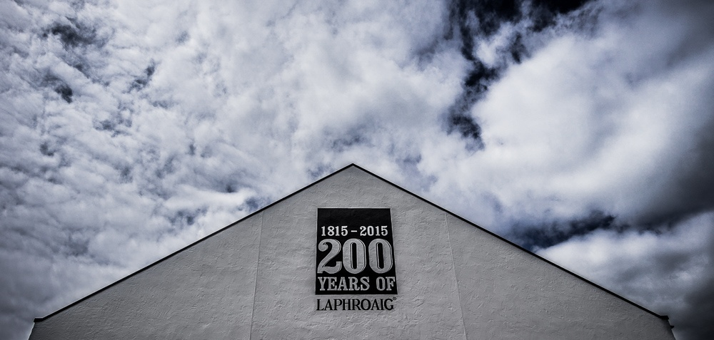 Close up of Laphroaig distillery sign 200 years to 2015