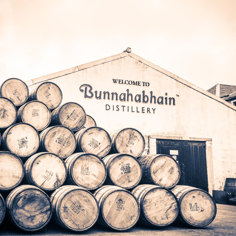 Fresh bourbon casks from Jim Beam group at Bunnahabhain Distillery