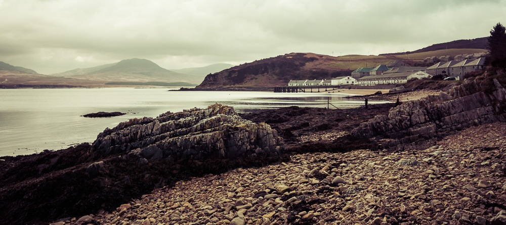 Bunnahabhain Distillery and the Sound of Islay, with Jura Paps in the background