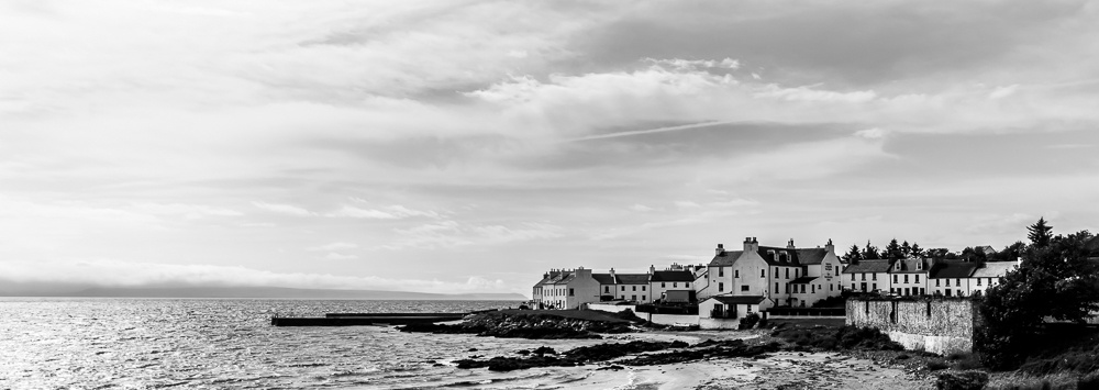 Port Charlotte Islay wide view black and white