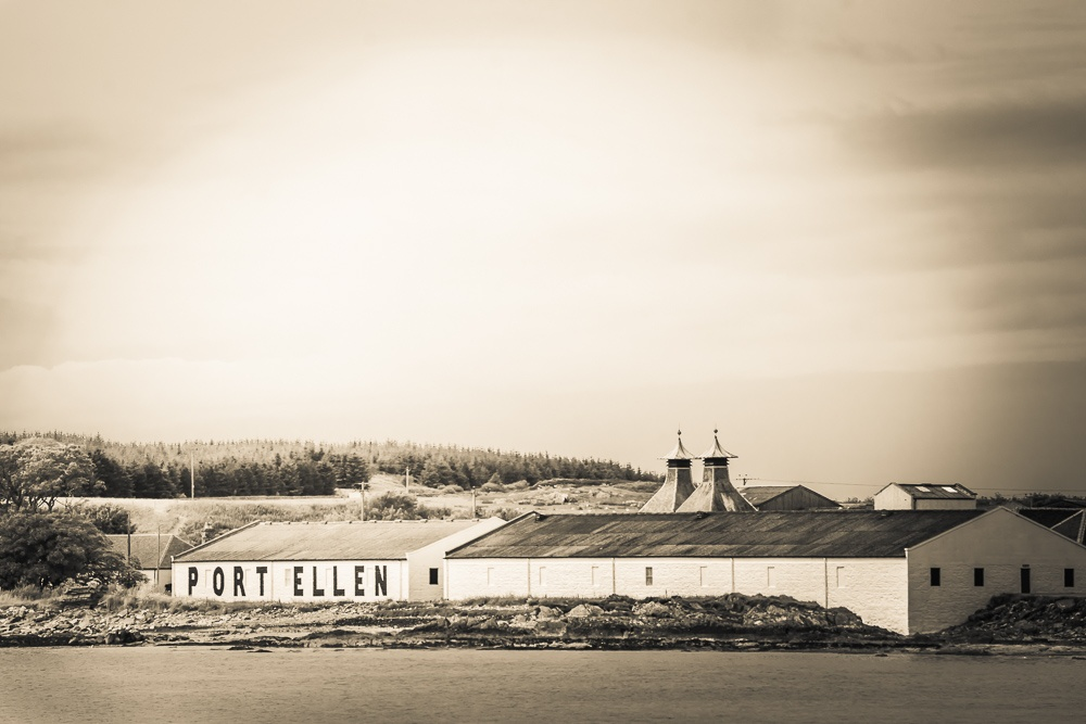 Black and white photo of the Port Ellen distillery Islay