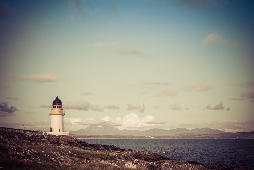Port Charlotte Lighthouse and the Paps of Jura.