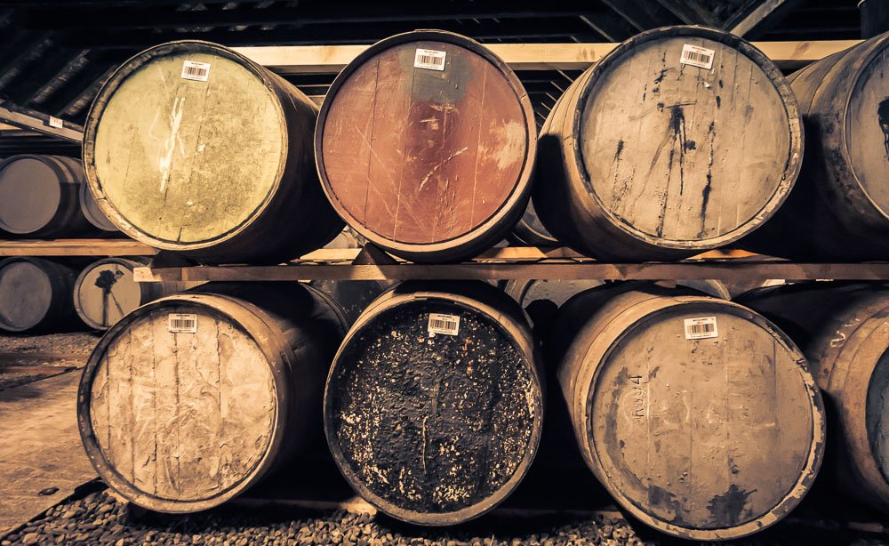 Clynelish Brora distillery warehouse casks close up - double stack, dunnage storage