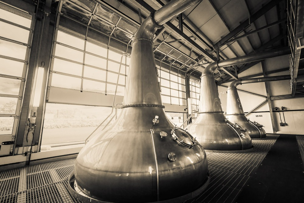 Three Glen Ord Distillery stills