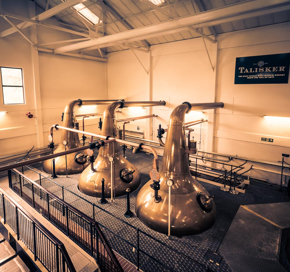 Talisker Distillery has 3 low wines stills (pictured) and 2 wash stills. An unusual combination, given stills are usually found in pairs (1:1 wash:spirit).