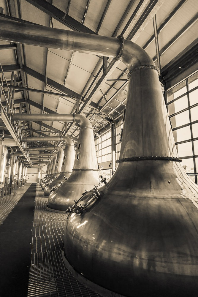 A squadron of stills at Glen Ord Distillery