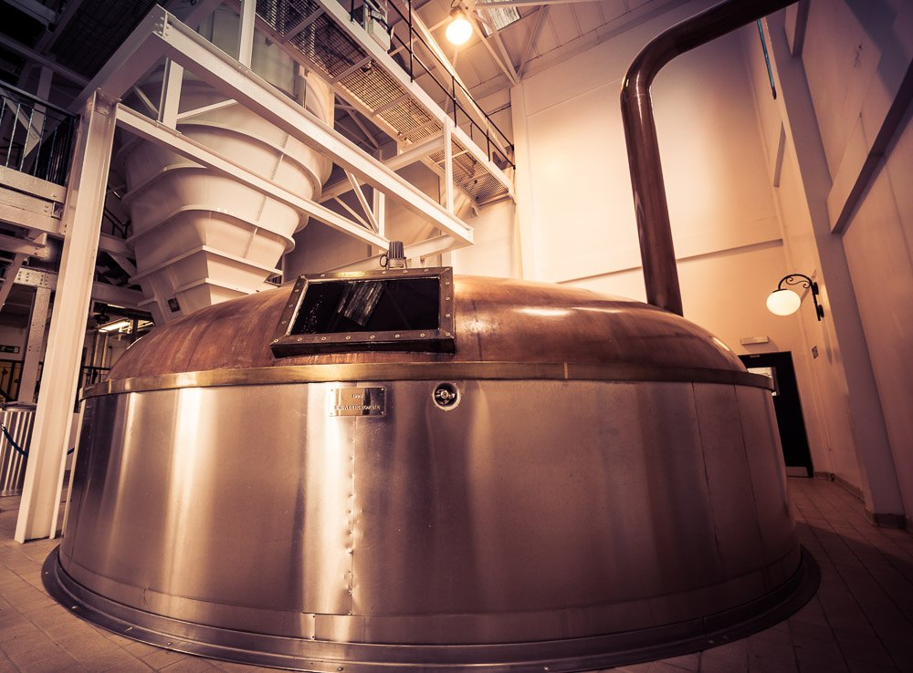 Stainless steel mash tun with a copper lid. Talisker Distillery, Isle of Skye