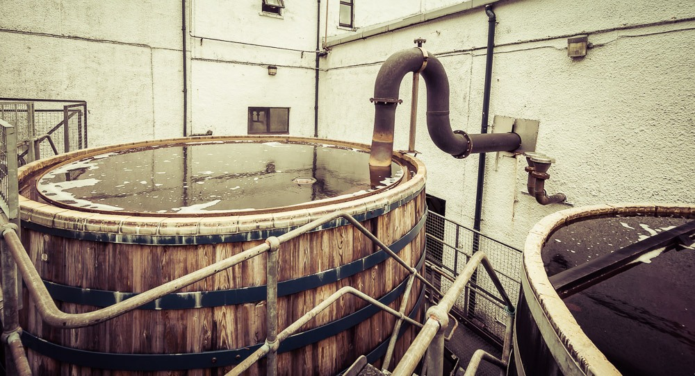 Talisker Distillery worm tub and lyne arm from wash still