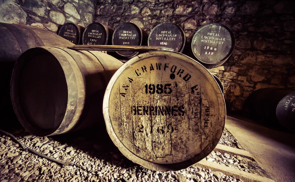Benrinnes 1985 cask in the Royal Lochnagar Duty Paid Academy Warehouse