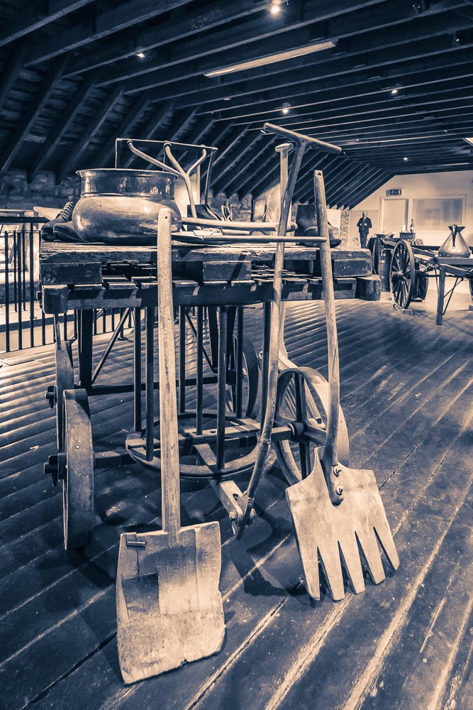 Relics of another era - old distillery tools at Blair Athol Distillery