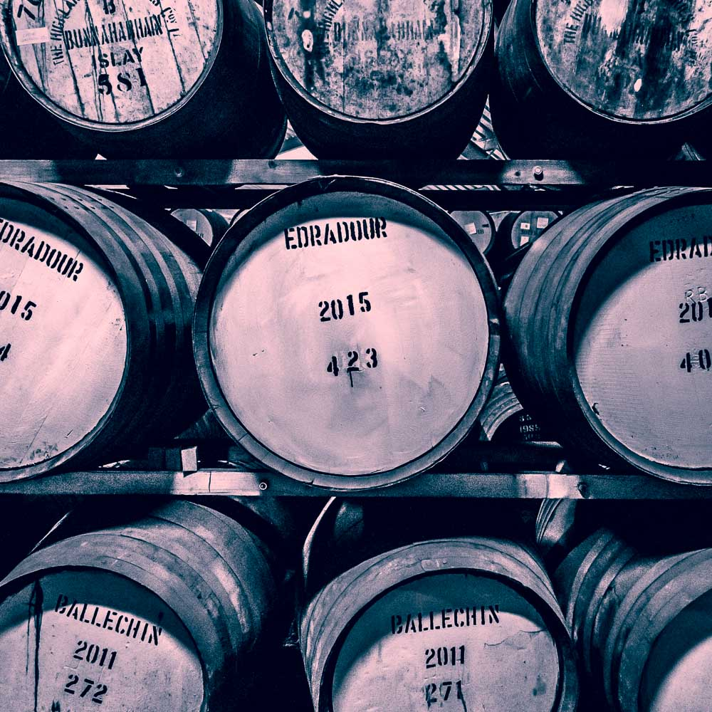 Bunnahabhain, Edradour and Ballechin Casks. Edradour's owner is the independent bottler Signatory Vintage, hence the prevalence of other distillers casks.