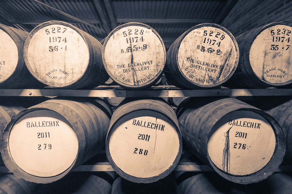 Ballechin 2011 Casks and Glenlivet 1974 Casks housed in Edradour Distillery's Warehouse
