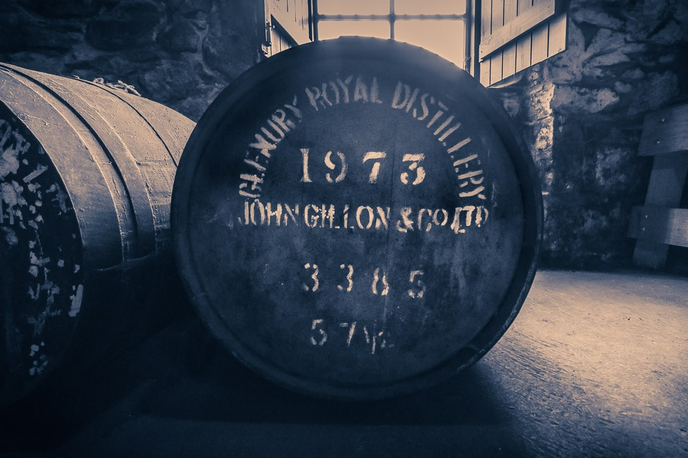 Glenury Royal Distillery Cask from 1973. Glenury Distillery closed down for good in 1985. This cask can be found in the Royal Lochnagar Duty Paid Warehouse which is used for training Diageo Malt Advocates