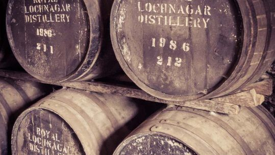 Rare and special 1986 casks in the Duty Paid Academy Warehouse at Royal Lochnagar Distillery.