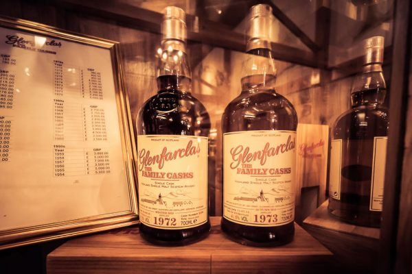 These bottles of the 1972 and 1973 Glenfarclas Family Cask Editions are on display in the Glenfarclas Distillery Visitor Centre. From the price list also pictured, they retail for 2100 GBP and 2200 GBP respectively. Why not pick one up on your next trip?