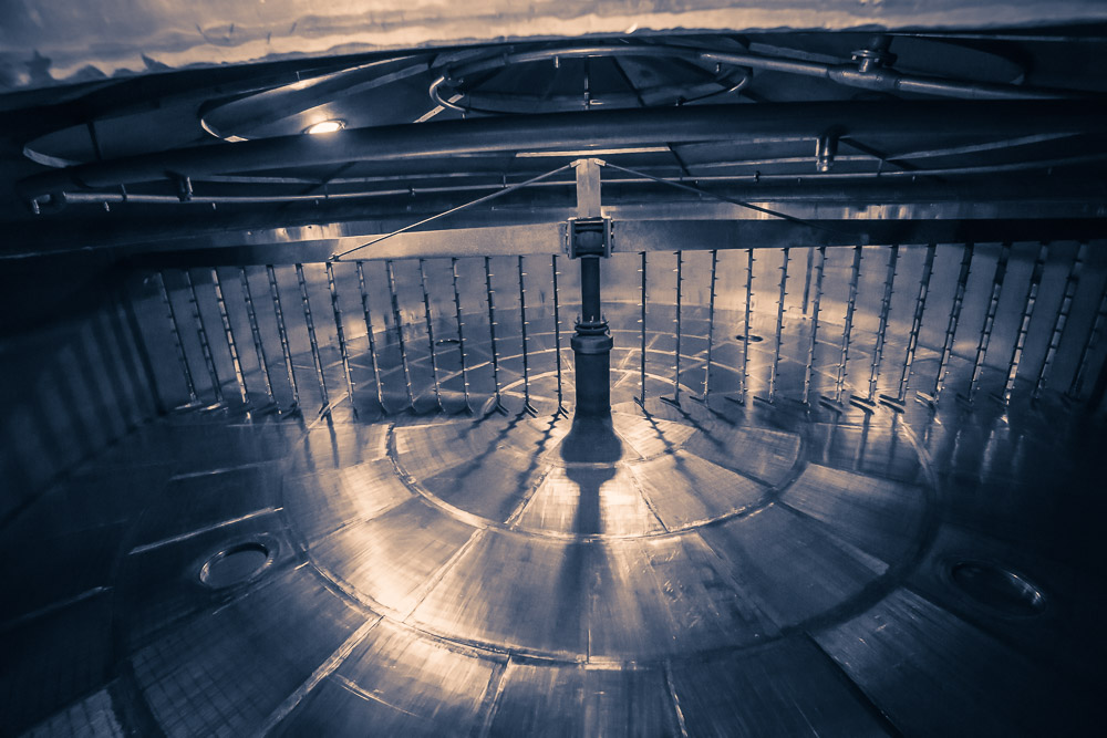 Inside the steel lauter-style mash tun at Glenfarclas Distillery - 10 metres in diameter and 16.5-tonne capacity.