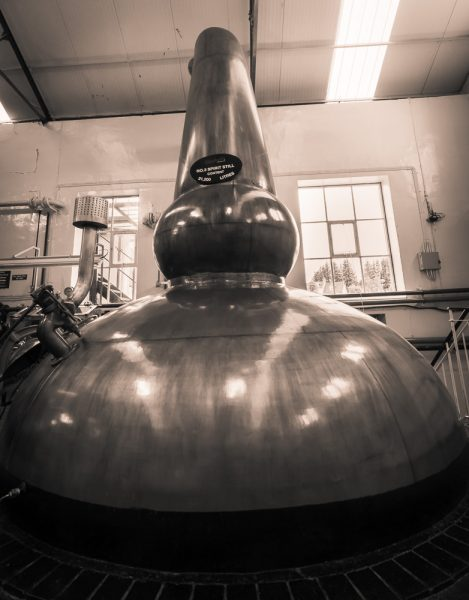 What a beautiful big bottom! Spirit still No.3 at Glenfarclas Distillery. She has a capacity of 21,200 litres.