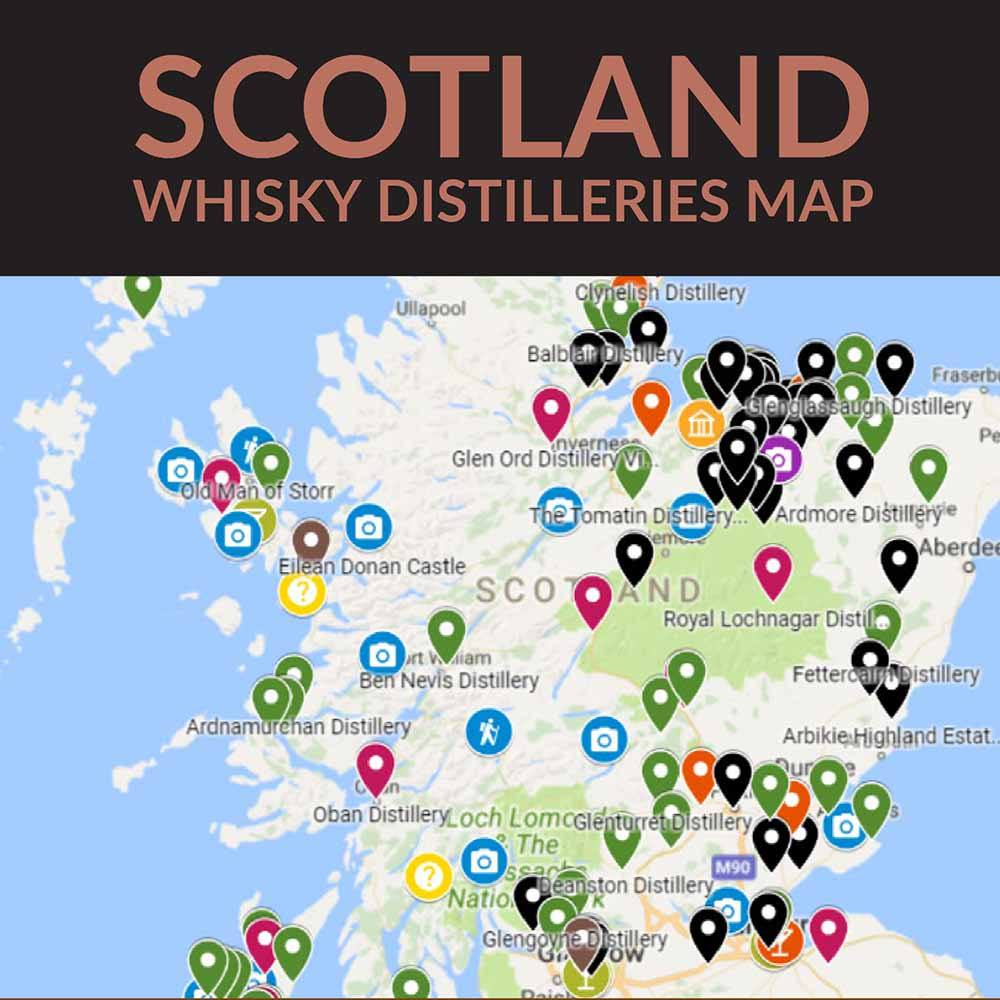 Square Title Image Scotland Whisky Distilleries Map