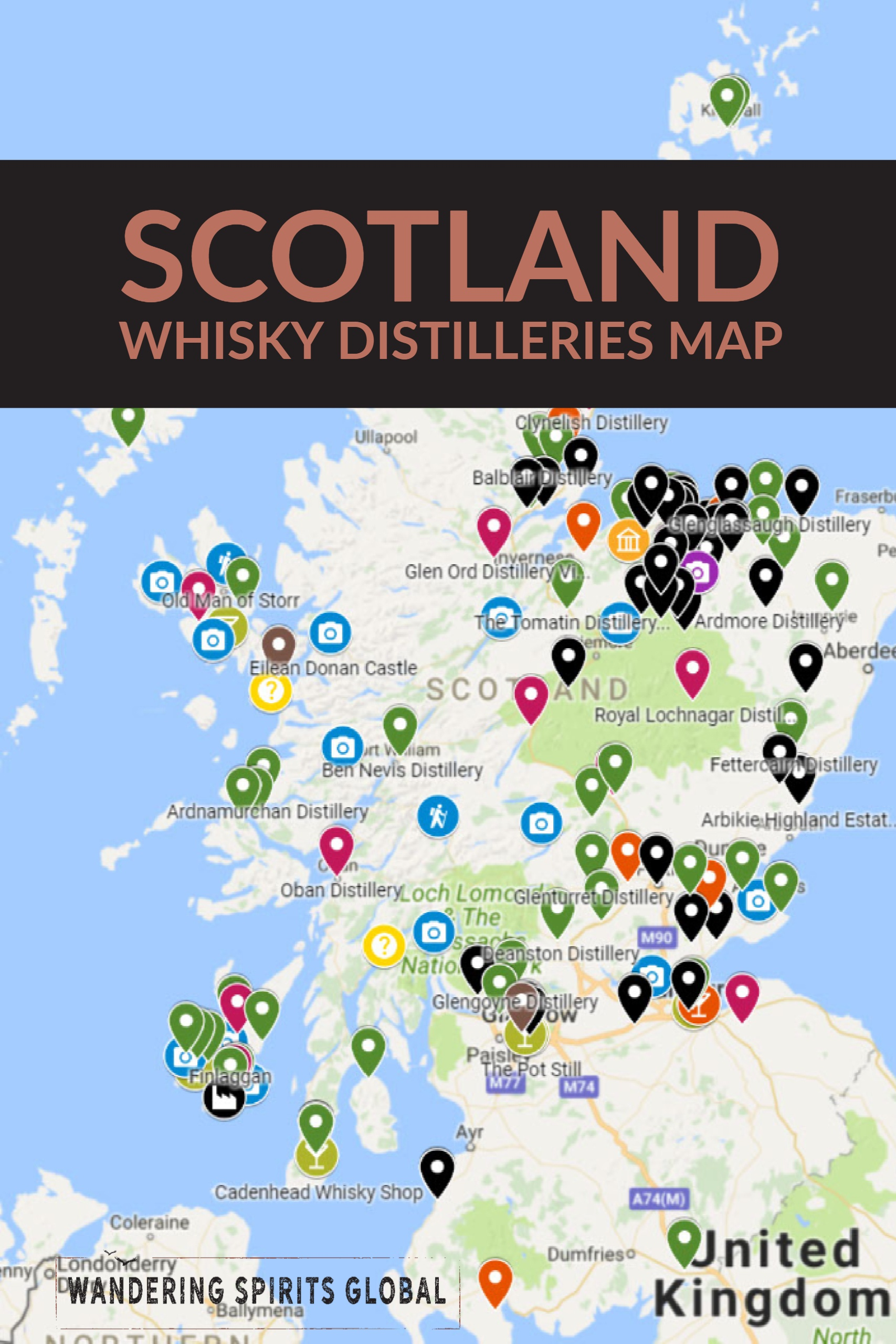 Whisky Karte Schottland.Scotland Whisky Distillery Map Wandering Spirits Global
