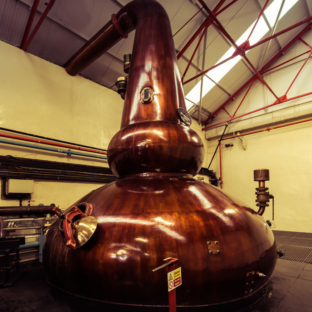 Wash Still No. 1 at Glenfarclas Distillery - note the huge boil ball on the neck for extra reflux, which promotes redistillation in the wash still.