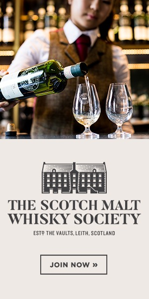 scotch malt whisky society advertisement showing a woman pouring a drink at a SMWS bar