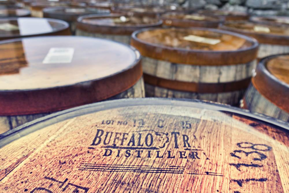 Buffalo Trace Casks in the Kilchoman Distillery courtyard, awaiting filling.