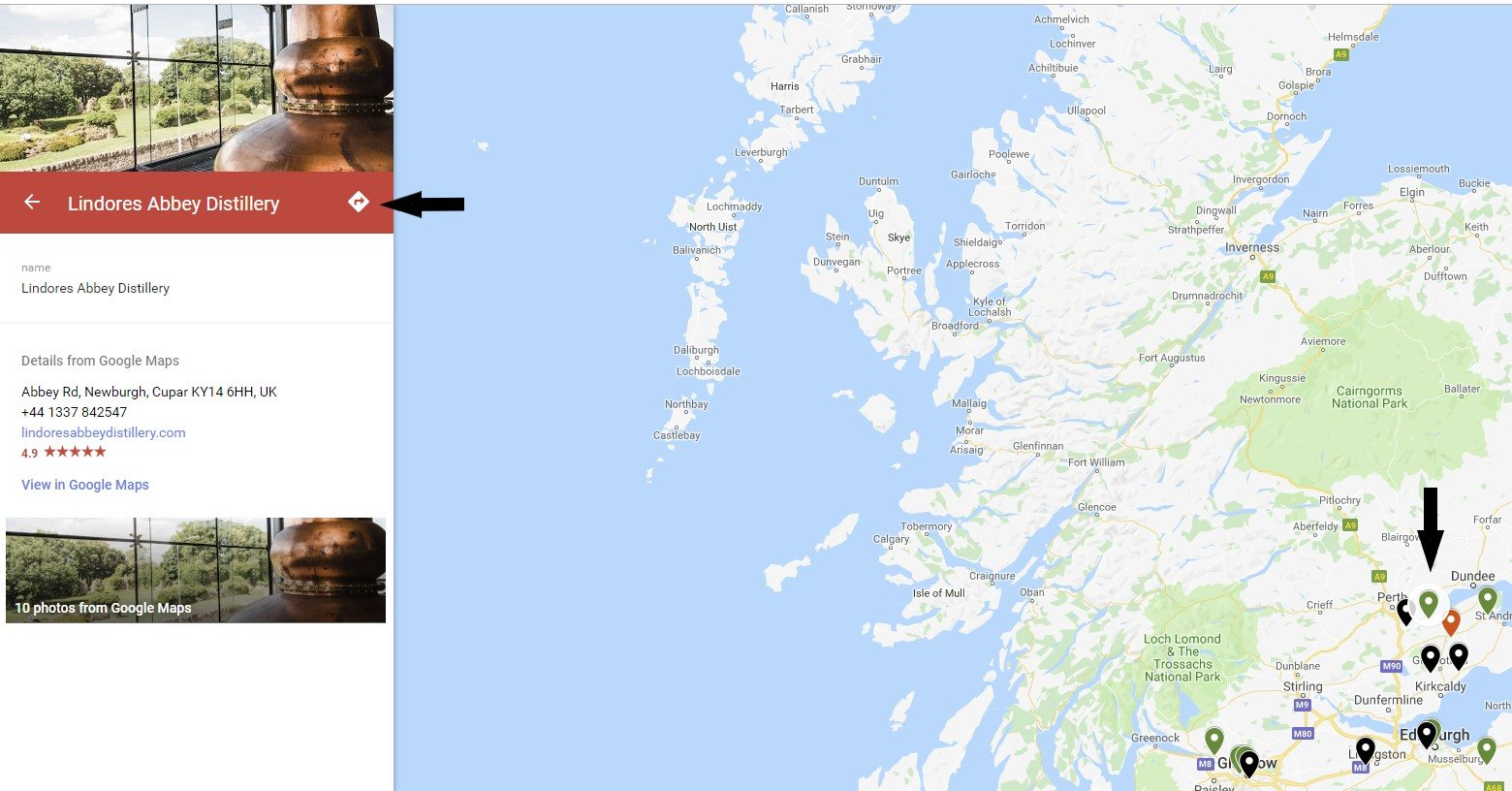 Use the Scotland Whisky Distillery Map to get directions to the next distillery on your tour