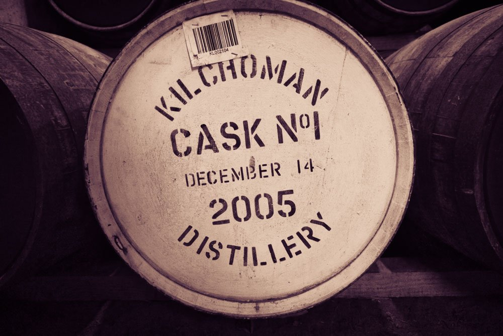 Front view of Cask number one at Kilchoman Distillery. Writing on cask says 'Kilchoman Distillery Cask Number One December 14, 2005""