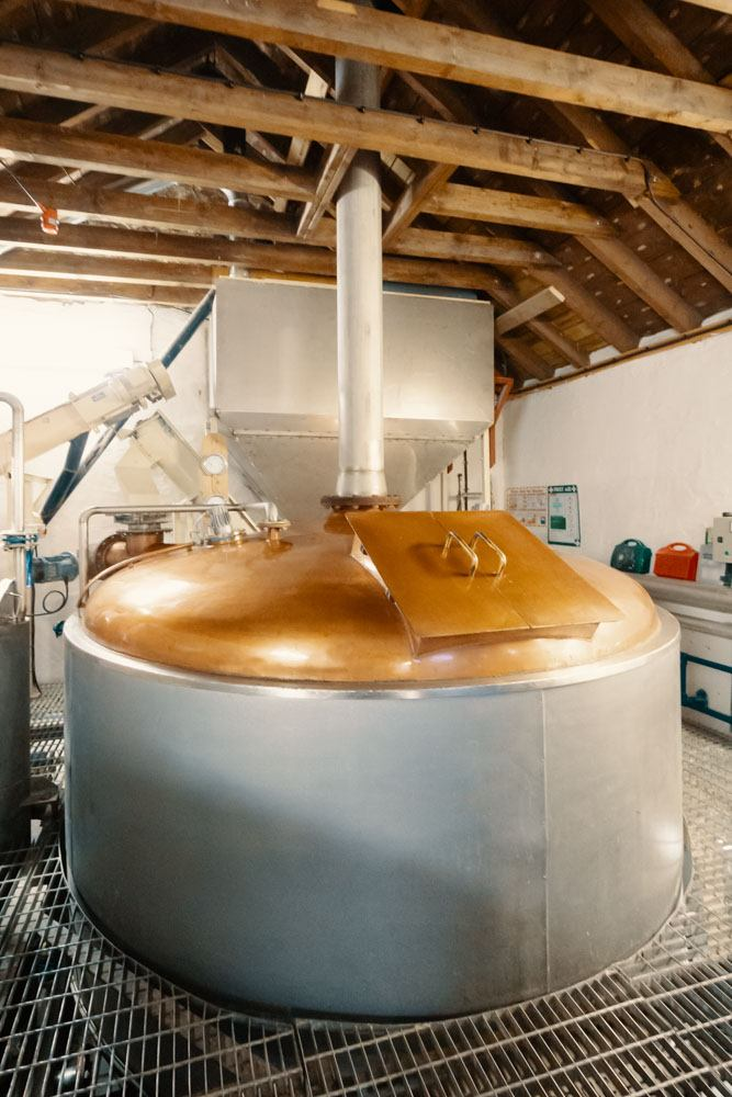 Kilchoman Distillery's copper topped mash tun, colour photograph