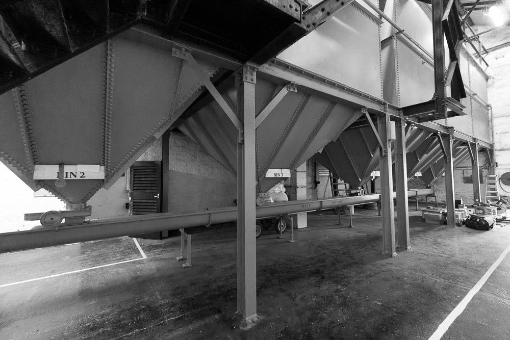Five of the six malt bins at Bowmore Distillery.