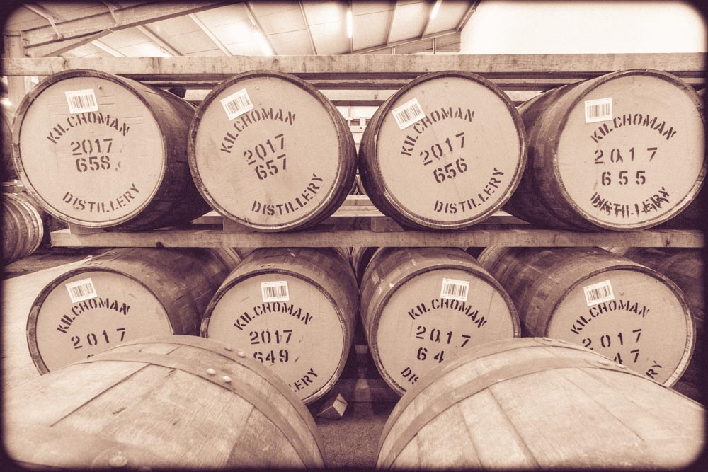 Kilchoman Distillery Warehouse, Racked 2017 Casks. Sepia toned photograph