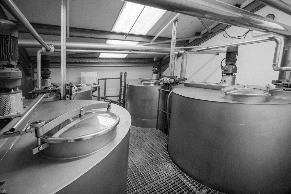 Kilchoman Distillery's four washbacks, black and white photograph