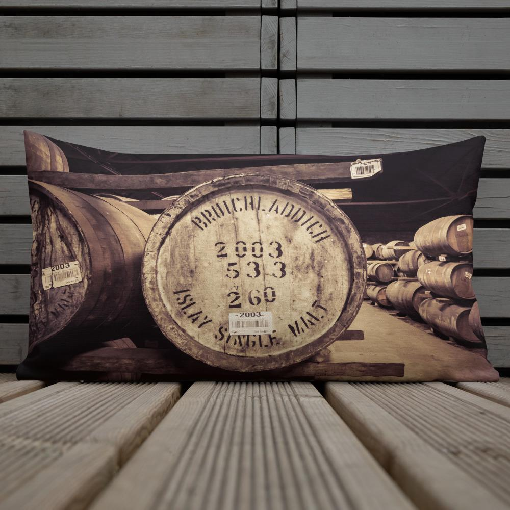 Bruichladdich distillery cask photograph printed on a rectangular pillow